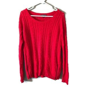 Red American Eagle Cable Knit Sweater w/ Zipper